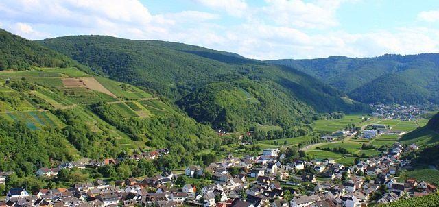 Ausblick auf die Weinberge in Dernau auf dem Rotweinwanderweg