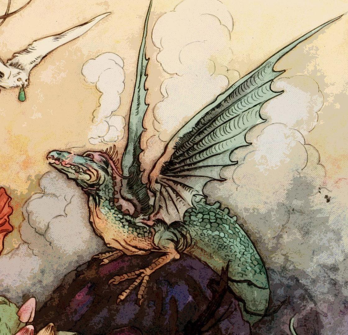 Eine malerische Darstellung des Drachen der Drachenfels Sage